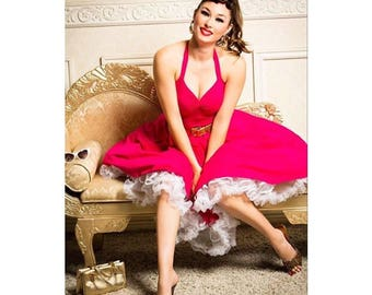 """Sale! Made to Measure, Hot Pink 50s Halter Dress, Hot Fuchsia ROCKABILLY Swing Dress 38"""" Length by Hardley Dangerous, Misses Plus Sizes"""