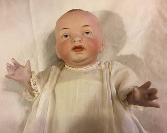 Antique German all bisque baby doll