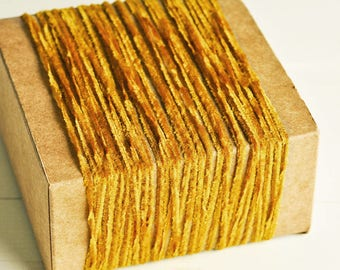 Petite Fringe Twine in Golden Brown - 6 Yards - String Cord Ribbon Gift Wrapping Packaging Vintage Velvet Chenille Trim Pretty Party Decor