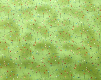 Sew Retro Pins Green 751 for Makower UK Patchwork, Quilting, Dressmaking Fabric