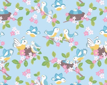So Darling A288-3 Bluebirds on Blue Lewis & Irene Patchwork Quilting Fabric