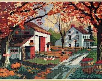 The Road Home Needlepoint DIMENSIONS Kit 2226 Country Lane in Fall Farmhouse Decor Rustic Country by Mildred Sands Kratz 16 x 12 Vintage NEW