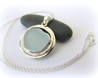 Sea glass necklace.Sterling silver necklace. Bezel Sea glass pendant.  Maine jewelry. Sea glass pendant. Sea glass jewelry.
