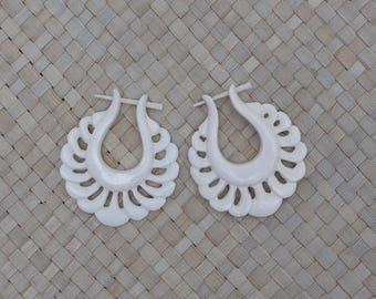 Ratna Bone Earrings, Stick Post Bone Earrings, Bali Cantik Bone Carving Jewelry