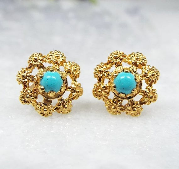 Vintage 9ct Yellow Gold Dainty Cannetille Etruscan Style Turquoise Stud Earrings