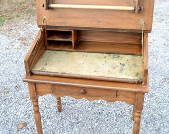 Vintage School  Desk Wooden Artist Drafting Desk Compartments Drawing Surface PanchosPorch