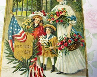 1910's Memorial Day POSTCARD Decoration Day by Artist Chapman - Since They Kissed the lads they loved so dear, and sent them to the front
