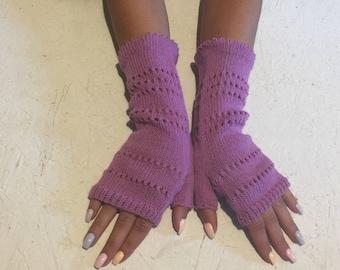 Knitted  Fingerless Half Gloves women, purple winter glove women gift arm warmers women purple fingerless knit mittens