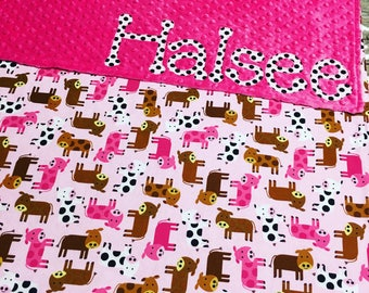 Pink Cow Blanket, Minky Cow Blanket, Minky Blanket with Cows