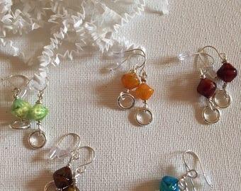 5 pair glass bead earring set