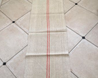 Red Stripe Twill Natural Sandstone Vintage Linen Grainsack