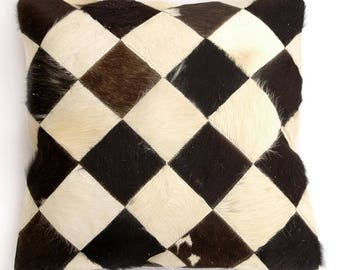 Natural Cowhide Luxurious Patchwork Hairon Cushion/pillow Cover (15''x 15'')a151