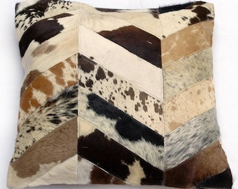 Natural Cowhide Luxurious Patchwork Hairon Cushion/pillow Cover (15''x 15'')a271