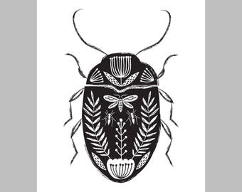 Folk art beetle giclee print illustration black background tattoo style design A4 size