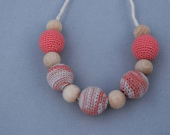 coral  Crochet Nursing Necklace - Breastfeeding Necklace - Teething necklace with crochet beads
