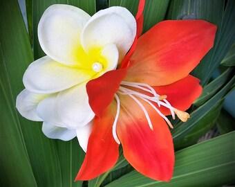 WEDDING HAIR CLIP, Hair Accessory, Hawaiian Plumeria, Lily, Bridal, Headpiece, silk flower, Beach Wedding, Custom Hair clip, Tropical flower