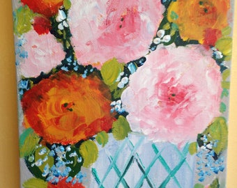 CLEARANCE SALE ! roses floral still life painting, 8 by 10