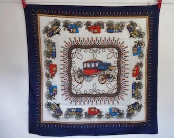 Vintage Scarf Carriages Baroque Versailles Style 68cm x 69cm