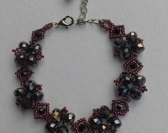 Victorian style beaded bracelet in shimmering aubergine colour/ Christmas gift / gift for her