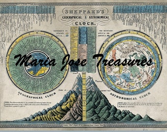 Vintage Geographical and Astronomical Clock - Digital Download