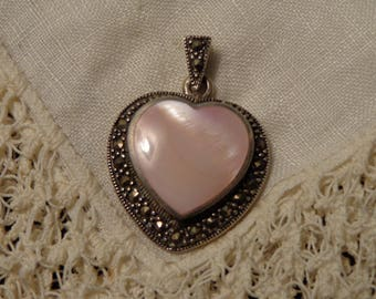 Sterling Silver Pink Mother of Pearl Surrounded by Marcasite Heart Pendant by Sarah Chee, Navajo