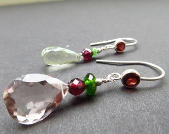 Asymmetrical Garnet Amethyst Gemstone Earrings ear hooks 925 Silver ,jewelry,birthday,present, giftidea, engagement,gift,  Birthstone june
