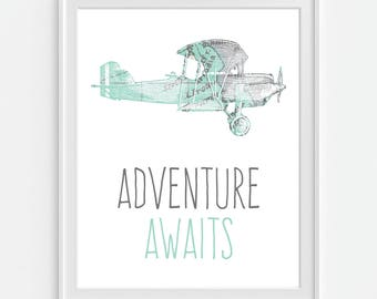 Airplane Decor, Airplane Nursery, Plane Decor, Boys Room Airplane Art, Adventure Awaits, Boys Room Map, Aviation Art, Childrens Airplane Art