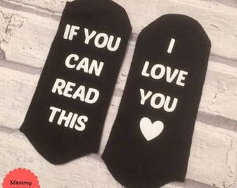 personalised socks, hidden message socks, if you can read this socks, fun gift, personalised gift, gift for him, gift for her, custom,