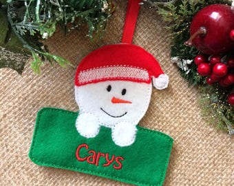 snowman christmas decoration, personalised christmas decoration, christmas decoration, tree decoration, snowman, xmas tree decoration