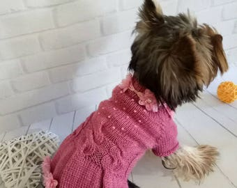 Dress small dog small dog sweater dog costume yorkie clothes dog dress large dog crochet dog clothes dog dress puppy clothes yorkie sweater