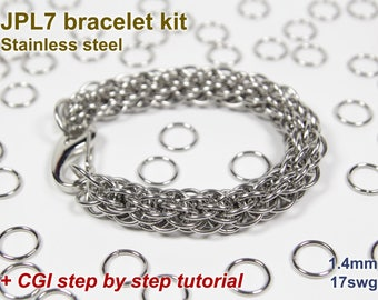 JPL7 Bracelet Kit, Chainmaille Kit, Stainless Steel, Chainmail Kit, Jump Rings, JPL7 Tutorial, Jens Pind Linkage, Chainmaille Tutorial
