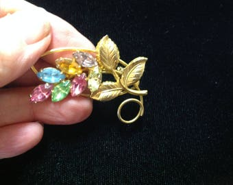 Multicolor rhinestone flower pin brooch gold tone, colored rhinestone pin, flower pin, gold tone flower pin, brooch, vintage flower brooch