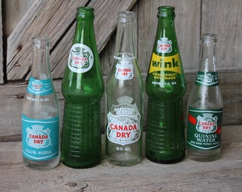 Lot of Five Vintage Canada Dry Soda Bottles - Club Soda, Wink, Quinine Water