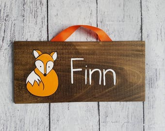 Fox Woodlands Nursery Name Sign/ Wood Nursery Sign/ Kid's Room Decor