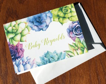 Succulent folded baby girl thank you cards, cactus personalized baby stationery, baby boy, gender neutral, baby girl shower thank you cards