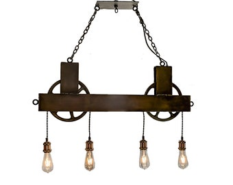 4 Light Dual Pulley Chandelier Brass or Steel Wheels : FREE SHIPPING Rustic Chandelier Lighting  Steel chandelier  Dining chandelier