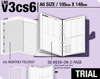 Trial [A6 v3cs6 w/o daily] November to December 2017 - Filofax Inserts Refills Printable Binder Planner Midori.
