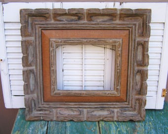 Vintage Retro Mexican Carved Wood and Burlap Frame Mexican Hanging Picture Frame Southwestern Decor Picutre Frame Made in Mexico Rustic