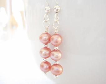 Pink Pearl Earrings, Freshwater Pearl Earrings, Sterling Silver Jewelry, Dangle Earrings, Beaded Drop Earrings, Bridal Wedding Jewelry