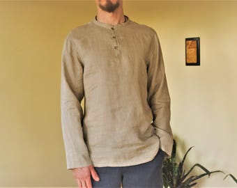 Natural linen classic men's shirt.