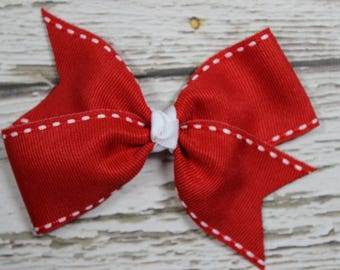 NEW Red with White Stitching Basic Boutique Hair Bow on Lined Alligator Clip