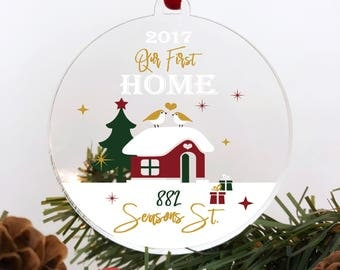 Our First Home Ornament Personalized First Christmas as a Family Ornament Personalized Christmas Ornament Family Christmas Housewarming #048