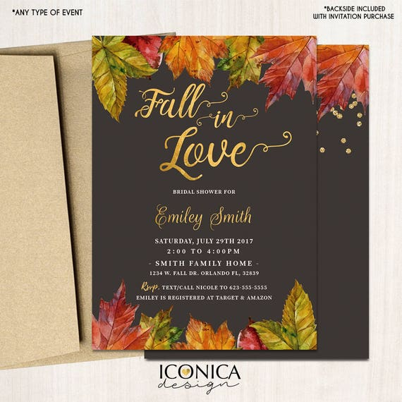 Fall in love bridal shower invitation fall party invitationsfall il570xn filmwisefo