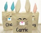 Easter Bunny Bags - Custom Easter Basket - Personalized Bunny Basket - Easter Basket - Pink, Blue or Cream bunny ears - Name or Initials
