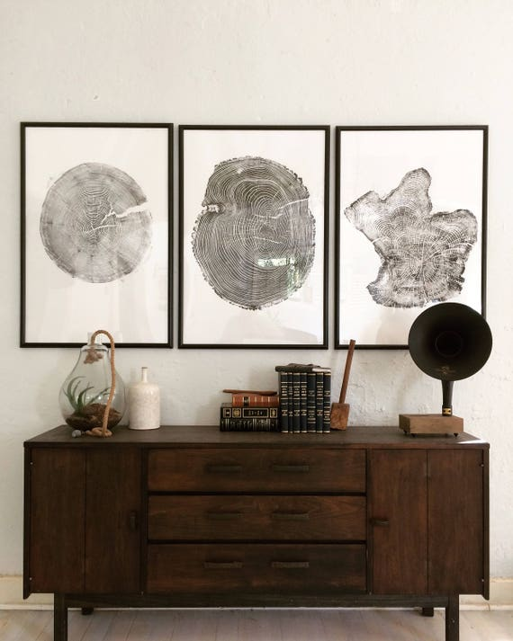 Set of 3 Large Tree Ring Prints, Tree stump prints, Tree ring print, tree ring art, triptych art set, large art prints, tree art, woodcut