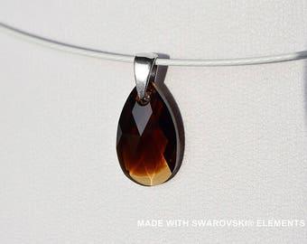 Amber SWAROVSKI Crystal almond pendant / 925 sterling silver