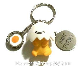 GUDETAMA NOT TODAY Keychain Lazy Egg Keyring Tired Egg Key Chain Sad Depressed Egg Key Fob Fried Egg Cute Food Bag Charms Kawaii Japan Gift