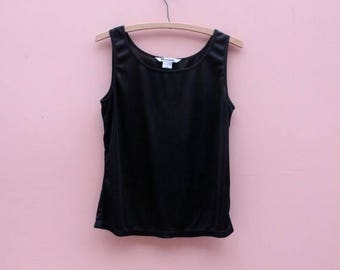 Shark Tank Vintage Sleeveless Basic in Midnight Black ~CLEARANCE ~ Flat Rate Shipping [Womens Medium Top Slinky Shift Modern Basic]