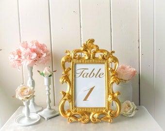 Gold Vintage Style Ornate Baroque Frame, Table Number Frame, Party Favor, Bright Gold Elegant Wedding Frame Picture Frame, Nursery Frame