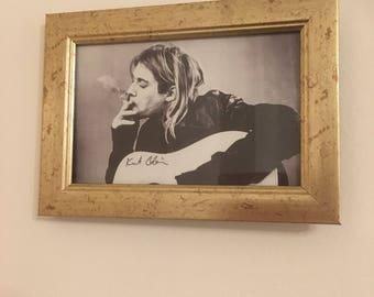 """Kurt Cobain print in a gold frame 6x4"""""""